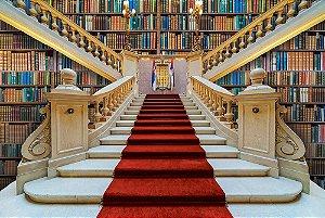 Painel de Festa em Tecido Sublimado 3d Escadaria da Biblioteca
