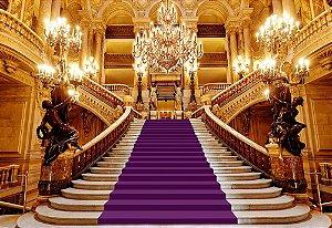 Painel de Festa em Tecido Sublimado 3d Escadaria Realeza Roxa