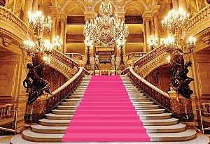 Painel de Festa em Tecido Sublimado 3d Escadaria Realeza Rosa