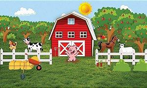 Painel de Festa em Tecido Sublimado 3d Fazendinha Com Animais