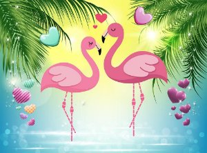 Painel de Festa em Tecido Sublimado 3d Flamingos e Corações