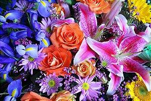 Painel de Festa em Tecido Sublimado 3d Flores da Natureza
