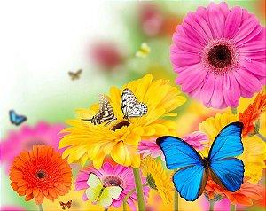 Painel de Festa em Tecido Sublimado 3d Borboletas nas Flores