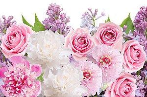 Painel de Festa em Tecido Sublimado 3d Flores Lilases