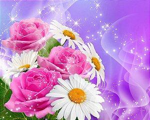 Painel de Festa em Tecido Sublimado 3d Camomilas e Rosas