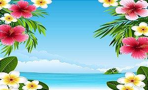 Painel de Festa em Tecido Sublimado 3d Praia e Flores