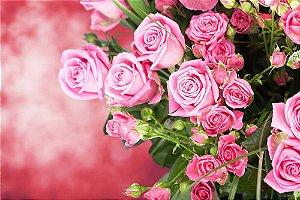 Painel de Festa em Tecido Sublimado 3d Rosas no Jardim