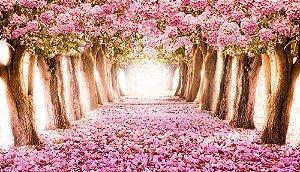 Painel de Festa em Tecido Sublimado 3d Floresta Ipê Rosa