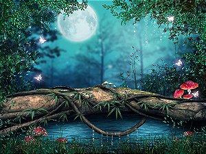 Painel de Festa em Tecido Sublimado 3d Floresta Mágica