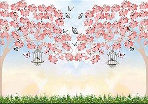 Painel de Festa em Tecido Sublimado 3d Árvores Folhas Rosas