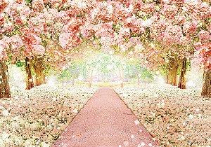 Painel de Festa em Tecido Sublimado 3d Caminho Floresta Branca