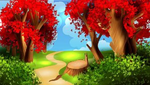 Painel de Festa em Tecido Sublimado 3d Floresta Vermelha