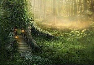 Painel de Festa em Tecido Sublimado 3d Casa da Árvore Mágica