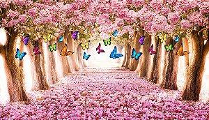 Painel de Festa em Tecido Sublimado 3d Floresta Ipê Rosa Com Borboletas
