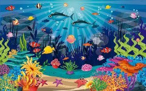 Painel de Festa em Tecido Sublimado 3d Fundo do Mar