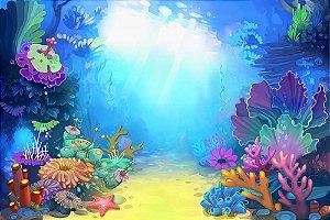 Painel de Festa em Tecido Sublimado 3d Fundo do Mar Raio de Sol