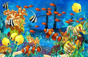 Painel de Festa em Tecido Sublimado 3d Fundo do Oceano