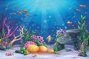 Painel de Festa em Tecido Sublimado 3d Fundo do Mar Mod2
