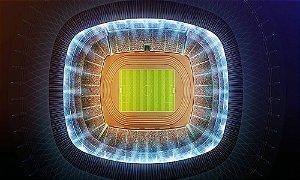 Painel de Festa em Tecido Sublimado 3d Campo de Futebol Mod2