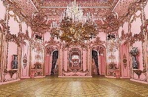Painel de Festa em Tecido Sublimado 3d Hall Castelo Rosa