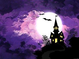 Painel de Festa em Tecido Sublimado 3d Halloween Castelo