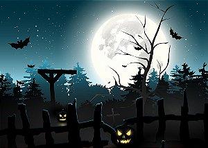 Painel de Festa em Tecido Sublimado 3d Halloween Floresta