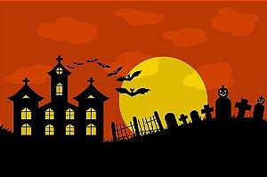Painel de Festa em Tecido Sublimado 3d Halloween Cemitério