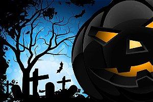 Painel de Festa em Tecido Sublimado 3d Halloween Abóbora