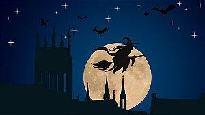 Painel de Festa em Tecido Sublimado 3d Halloween Bruxa