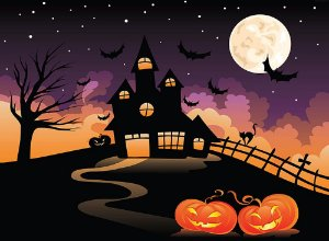 Painel de Festa em Tecido Sublimado 3d Halloween Castelo Assustador