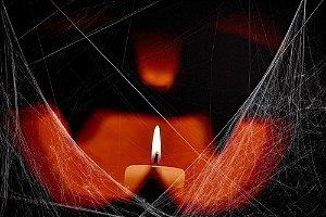 Painel de Festa em Tecido Sublimado 3d Halloween Vela
