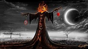 Painel de Festa em Tecido Sublimado 3d Halloween Boneco