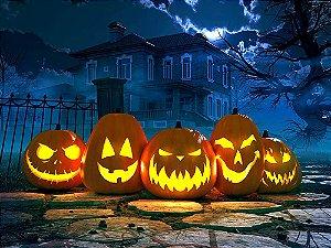Painel de Festa em Tecido Sublimado 3d Abóboras do Halloween
