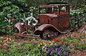 Painel de Festa em Tecido Sublimado 3d Jardim e Carro Antigo