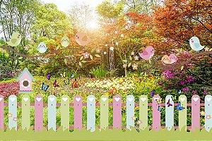 Painel de Festa em Tecido Sublimado 3d Jardim da Primavera Passarinhos