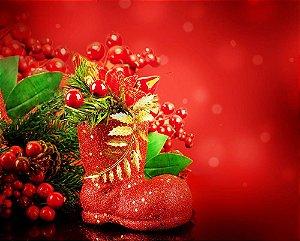 Painel de Festa em Tecido Sublimado Botinha de Natal