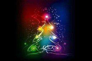 Painel de Festa em Tecido Sublimado Árvore de Natal Abstrata