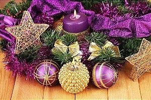 Painel de Festa em Tecido Sublimado Bolas Ornamentais de Natal