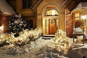 Painel de Festa em Tecido Sublimado Casa de Inverno de Natal