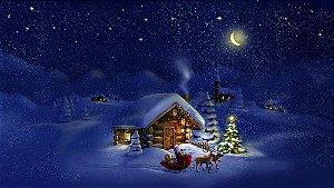 Painel de Festa em Tecido Sublimado Casinha do Papai Noel