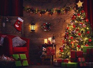 Painel de Festa em Tecido Sublimado Cenário de Natal