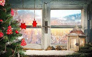 Painel de Festa em Tecido Sublimado Janela Enfeites de Natal