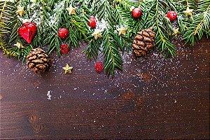 Painel de Festa em Tecido Sublimado Ramo de Natal
