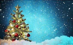 Painel de Festa em Tecido Sublimado Pinheiro de Natal Enfeitado