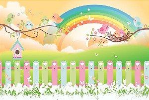 Painel de Festa em Tecido Sublimado 3d Passarinhos e Arco-íris