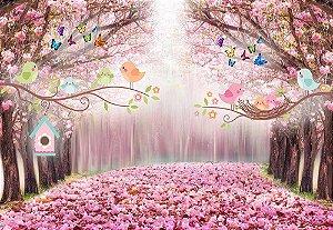 Painel de Festa em Tecido Sublimado 3d Passarinhos Floresta Rosa