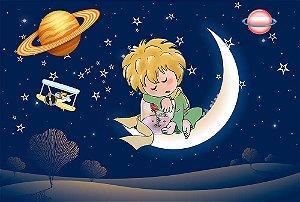 Painel de Festa em Tecido Sublimado 3d Lua Pequeno Príncipe