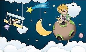 Painel de Festa em Tecido Sublimado 3d Pequeno Príncipe Nuvens