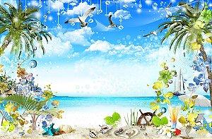 Painel de Festa em Tecido Sublimado 3d Linda Praia Tropical