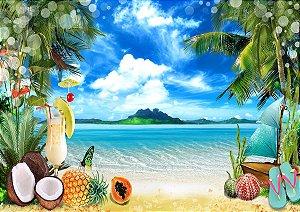 Painel de Festa em Tecido Sublimado 3d Linda Ilha Tropical